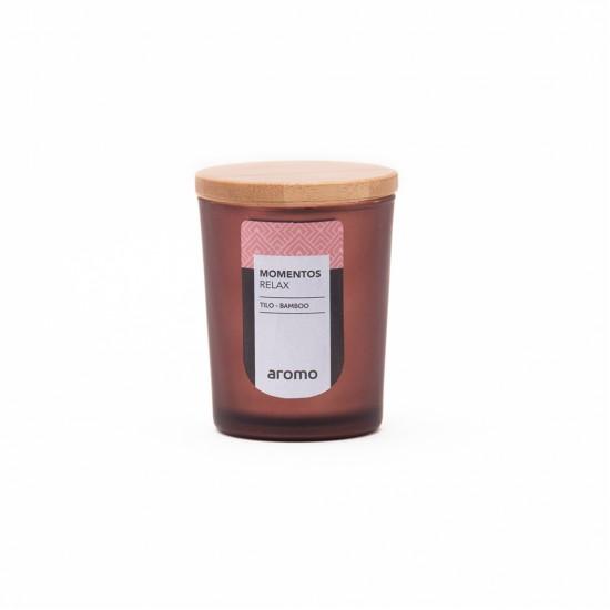VASO CERA VEGETAL 5x7 MARRON  MOMENTOS-RELAX  (Tilo-Bamboo)